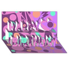 Purple And Green Decor Happy Birthday 3d Greeting Card (8x4) by Valentinaart