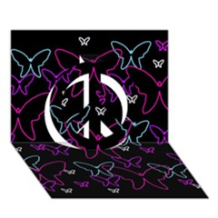 Purple Butterflies Pattern Peace Sign 3d Greeting Card (7x5) by Valentinaart