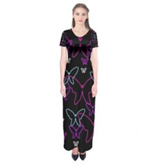 Purple Butterflies Pattern Short Sleeve Maxi Dress by Valentinaart