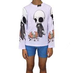 Smashing Pumpkin King  Kid s Long Sleeve Swimwear by lvbart