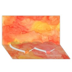 Watercolor Yellow Fall Autumn Real Paint Texture Artists Twin Heart Bottom 3d Greeting Card (8x4)