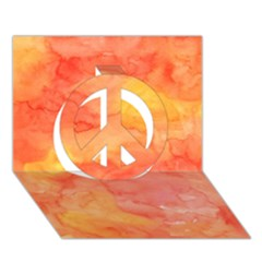 Watercolor Yellow Fall Autumn Real Paint Texture Artists Peace Sign 3d Greeting Card (7x5) by CraftyLittleNodes