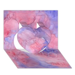 Galaxy Cotton Candy Pink And Blue Watercolor  Heart 3d Greeting Card (7x5) by CraftyLittleNodes