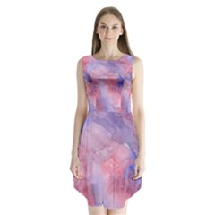 Galaxy Cotton Candy Pink And Blue Watercolor  Sleeveless Chiffon Dress