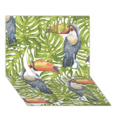 Tropical Print Leaves Birds Toucans Toucan Large Print Circle 3d Greeting Card (7x5)