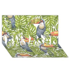 Tropical Print Leaves Birds Toucans Toucan Large Print Engaged 3d Greeting Card (8x4) by CraftyLittleNodes