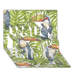 Tropical Print Leaves Birds Toucans Toucan Large Print You Did It 3d Greeting Card (7x5)