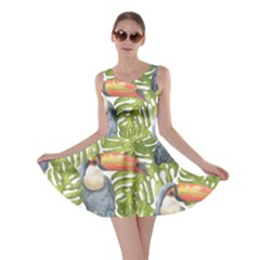 Tropical Print Leaves Birds Toucans Toucan Large Print Skater Dress by CraftyLittleNodes