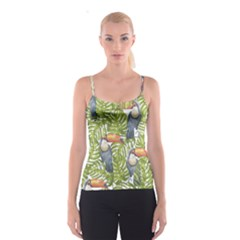 Tropical Print Leaves Birds Toucans Toucan Large Print Spaghetti Strap Top by CraftyLittleNodes