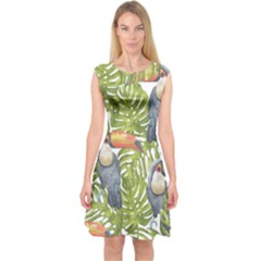 Tropical Print Leaves Birds Toucans Toucan Large Print Capsleeve Midi Dress by CraftyLittleNodes
