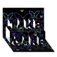 Blue Neon Butterflies Take Care 3d Greeting Card (7x5) by Valentinaart