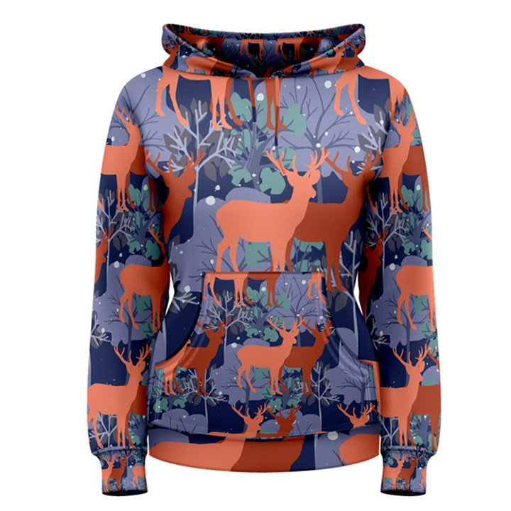 Deer in the winter forest Women s Pullover Hoodie