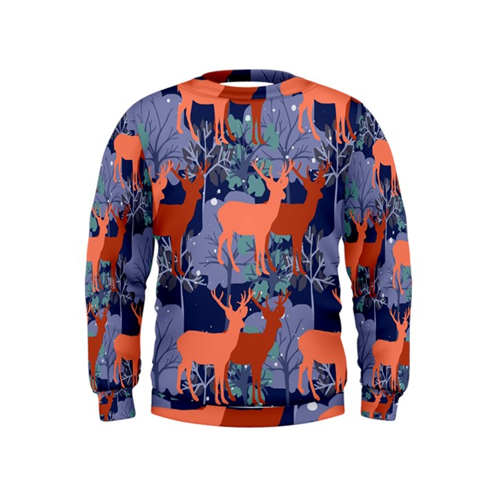 Deer in the winter forest Kids  Sweatshirt