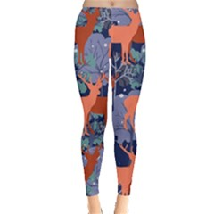 Deer In The Winter Forest Leggings