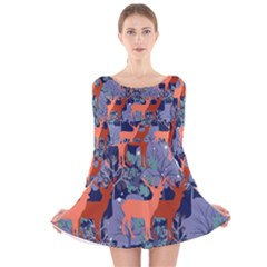Deer In The Winter Forest Long Sleeve Velvet Skater Dress