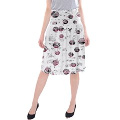 White And Red Soul Midi Beach Skirt by Valentinaart