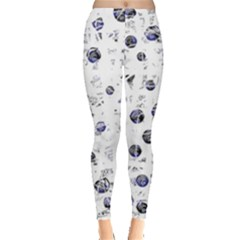 White And Deep Blue Soul Leggings  by Valentinaart