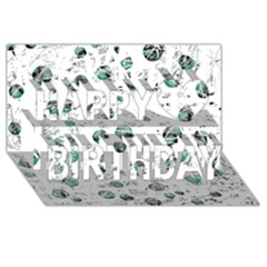 White And Green Soul Happy Birthday 3d Greeting Card (8x4)
