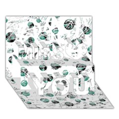 White And Green Soul Miss You 3d Greeting Card (7x5)