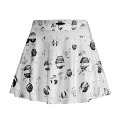 White And Gray Soul Mini Flare Skirt