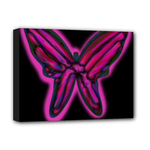 Purple neon butterfly Deluxe Canvas 16  x 12   by Valentinaart