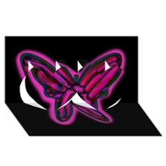Purple Neon Butterfly Twin Hearts 3d Greeting Card (8x4) by Valentinaart