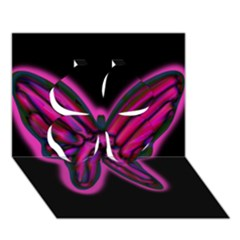 Purple Neon Butterfly Clover 3d Greeting Card (7x5) by Valentinaart