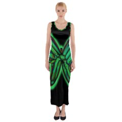 Green neon butterfly Fitted Maxi Dress by Valentinaart