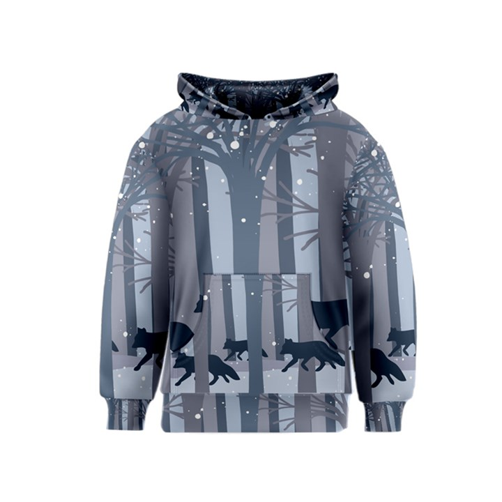 Foxes in the winter forest Kids  Pullover Hoodie