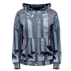 Foxes In The Winter Forest Women s Pullover Hoodie