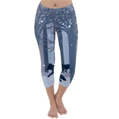 Foxes In The Winter Forest Capri Winter Leggings