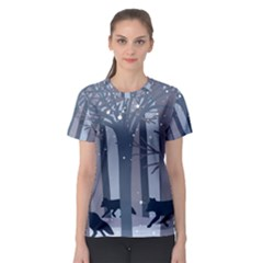 Foxes In The Winter Forest Women s Sport Mesh Tee