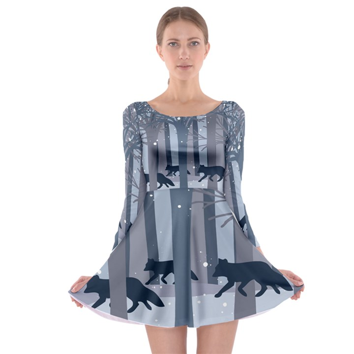 Foxes in the winter forest Long Sleeve Skater Dress