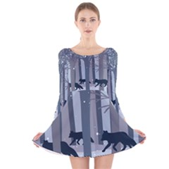 Foxes In The Winter Forest Long Sleeve Velvet Skater Dress