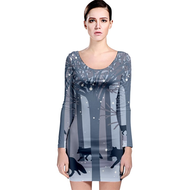 Foxes in the winter forest Long Sleeve Bodycon Dress