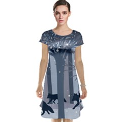 Foxes In The Winter Forest Cap Sleeve Nightdress