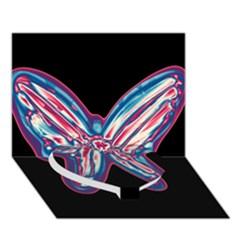 Neon Butterfly Heart Bottom 3d Greeting Card (7x5)