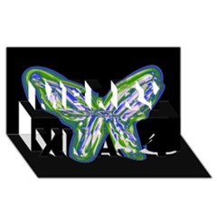 Green Neon Butterfly Merry Xmas 3d Greeting Card (8x4) by Valentinaart
