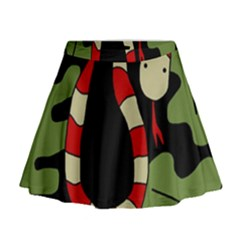 Red Cartoon Snake Mini Flare Skirt