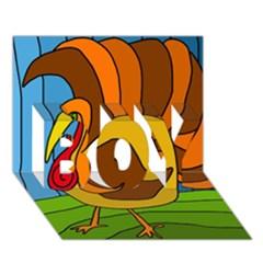 Thanksgiving Turkey  Boy 3d Greeting Card (7x5) by Valentinaart