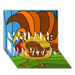 Thanksgiving Turkey  You Are Invited 3d Greeting Card (7x5) by Valentinaart