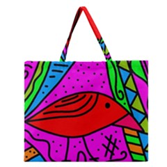 Red Bird Zipper Large Tote Bag by Valentinaart