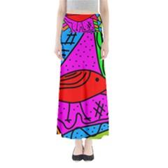 Red bird Maxi Skirts by Valentinaart