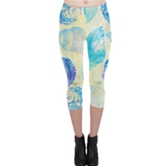 Seashells Capri Leggings  by DanaeStudio