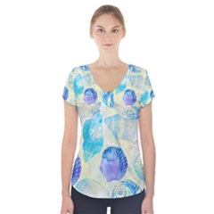 Seashells Short Sleeve Front Detail Top