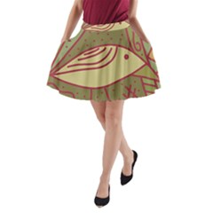 Brown Bird A Line Pocket Skirt