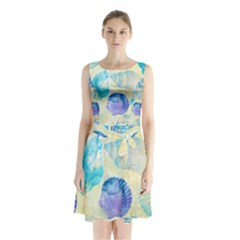 Seashells Sleeveless Chiffon Waist Tie Dress