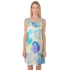 Seashells Sleeveless Satin Nightdress