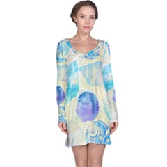 Seashells Long Sleeve Nightdress by DanaeStudio