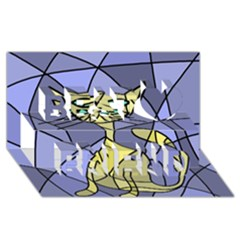 Artistic Cat   Yellow Best Friends 3d Greeting Card (8x4)